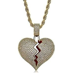 Other - Broken Heart Necklace Gold Color Iced Out Diamonds